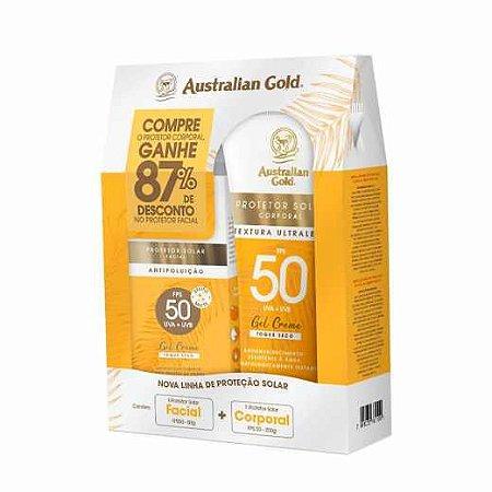 KIT AUSTRALIAN GOLD PROTETOR SOLAR CORPORAL FPS 50 200G + FACIAL FPS 50 50G