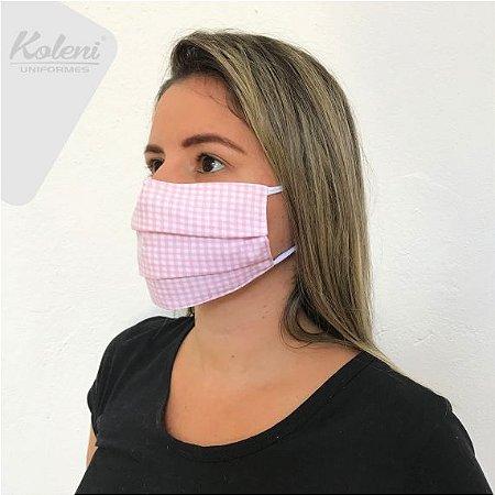 Máscara de proteção - REF 355 ROSA CLARO/BRANCO XADREZ