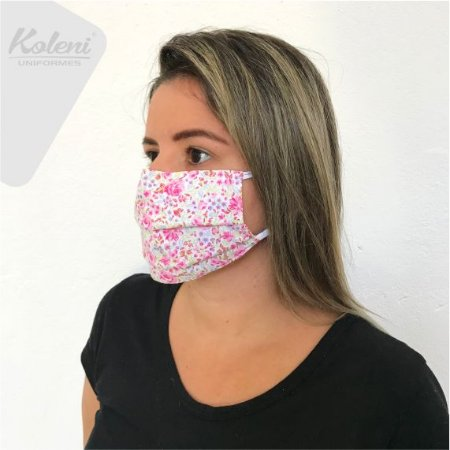 Máscara de proteção - FLORAL ROSA