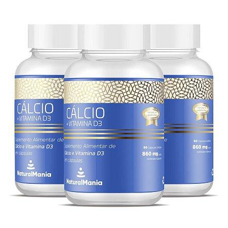 Combo 3 Frascos de Cálcio + Vitamina D com 60 cápsulas cada