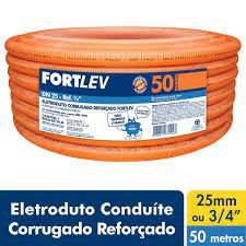 ELETRODUTO CORRUGADO PVC 25mm LARANJA FORTLEV COM 50MT COD IND 1400250