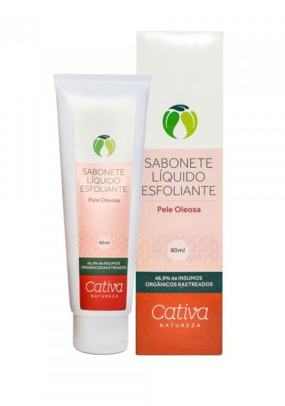 Sabonete Líquido Esfoliante Facial Pele Oleosa 80g   Cativa Natureza