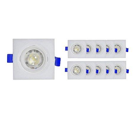 Kit 10 Spots Super Led Quadrado 3w Branco Quente Direcionavel