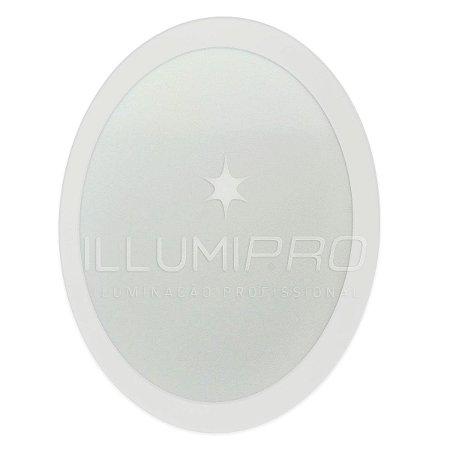 Luminária Painel Plafon Led 6w Branco Quente Redondo Embutir