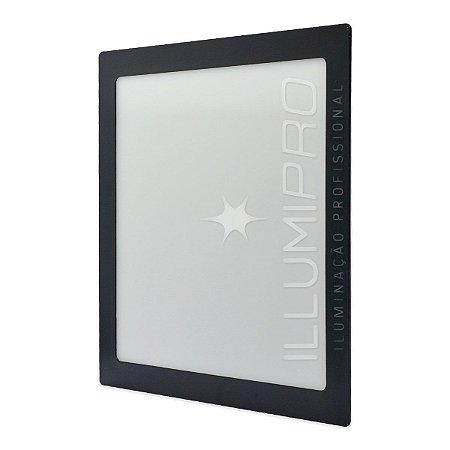 Luminária Painel Plafon Led 18w Branco Frio Quadrado Embutir Preto