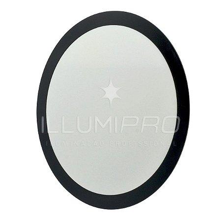 Luminária Painel Plafon Led 18w Branco Quente Redondo Embutir Preto
