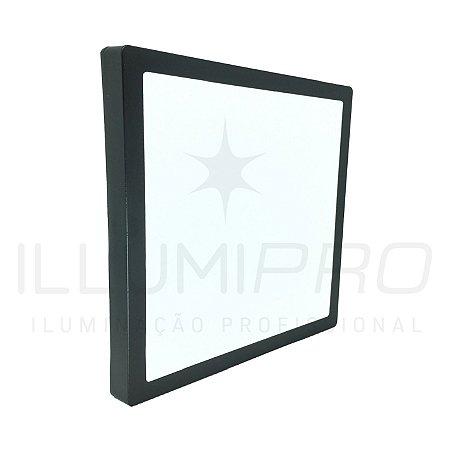 Luminária Plafon Led 24w Quadrado Sobrepor Quente Preto