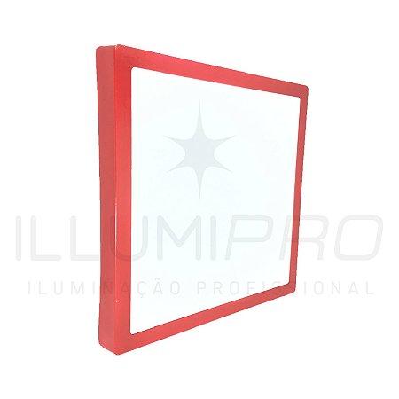 Luminária Plafon Led 12w Quadrado Sobrepor Frio Vermelho