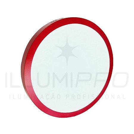 Luminária Plafon Led 12w Redondo Sobrepor Frio Vermelho
