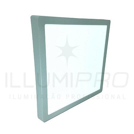 Luminária Plafon Led 24w Quadrado Sobrepor Quente Cinza