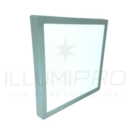 Luminária Plafon Led 18w Quadrado Sobrepor Frio Cinza