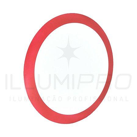 Luminária Plafon Led 12w Redondo Embutir Frio Vermelho
