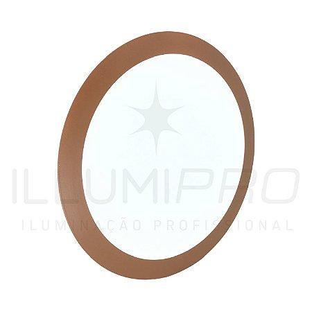 Luminária Plafon Led 18w Redondo Embutir Quente Marrom