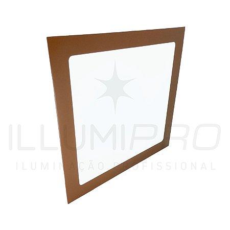 Luminaria Plafon Led 12w Quadrado Embutir Quente Marrom