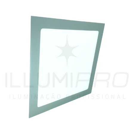 Luminária Plafon Led 18w Quadrado Embutir Frio Cinza