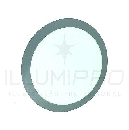 Luminária Plafon Led 18w Redondo Embutir Frio Cinza