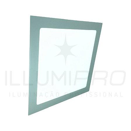 Luminária Plafon Led 12w Quadrado Embutir Frio Cinza