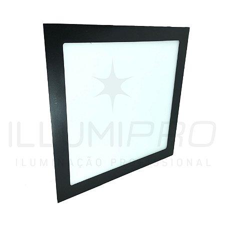 Luminária Plafon Led 18w Quadrado Embutir Frio Preto