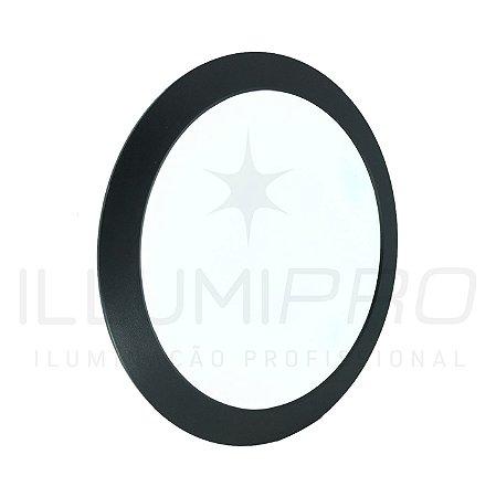 Luminária Plafon Led 3w Redondo Embutir Frio Preto
