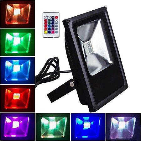 Refletor Holofote Led RGB 30w Bivolt com controle