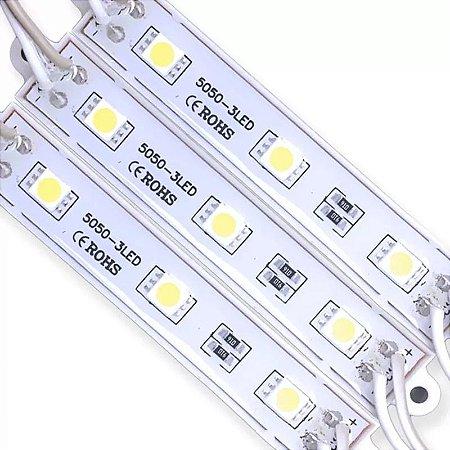 Modulo Led Branco Quente 5050 3LED IP65 Luz Amarela