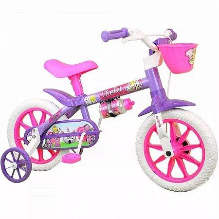 Bicicleta Infantil Menina Aro 12 Violet Nathor