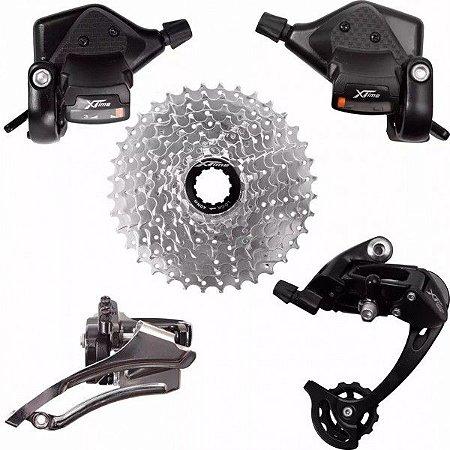 Kit Grupo Tsw Xtime 27v Passador Cassete Cambios 9v Padrão Shimano Bicicleta Bike MTB