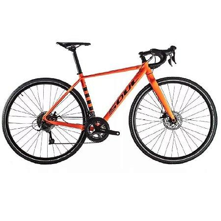 Bicicleta Soul Spry Gravel 700c Claris 16v Laranja E Preta