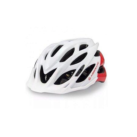 Capacete Absolute Wild Branco Vermelho Bicicleta Ciclismo Tam 58-61cm