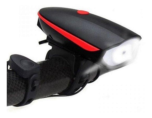 Farol e Buzina 140db Led Bateria Recarregável Bike Usb Verm.