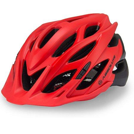 Capacete Ciclismo Absolute Wild Vermelho/Preto Led Sinalizador Tam 58-61cm