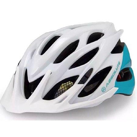 Capacete Ciclismo Absolute Mia Feminino Branco Turquesa Tam 54-57cm