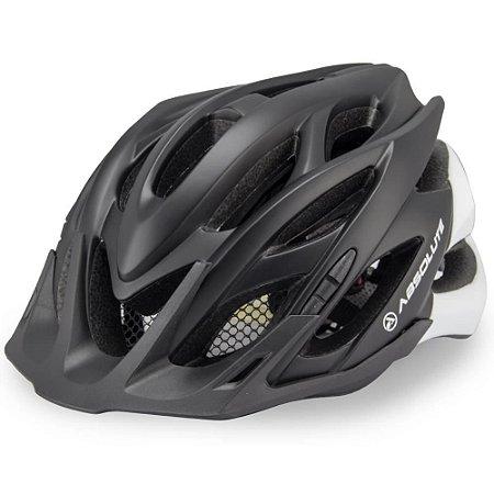 Capacete Absolute Wild Preto Branco Fosco Led Ciclismo Tam 57-61cm