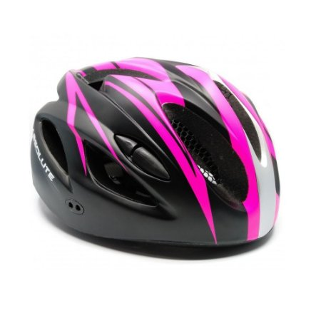Capacete Absolute Nero Preto Rosa Ciclismo Led Sinalizador Tam 54-57cm