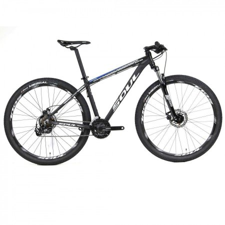 Bicicleta Soul Black Rain 29 MTB Preta Branca e Azul