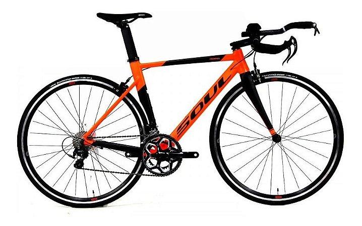 Bicicleta Speed Triathlon Soul Ironfox Laranja e Preto Shimano 105