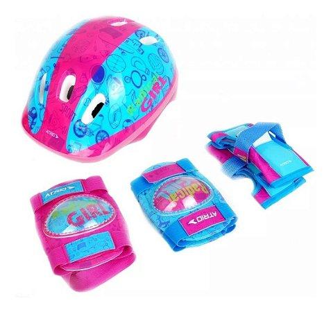 Capacete Kit De Proteção Infantil Menina Atrio Bike Skate