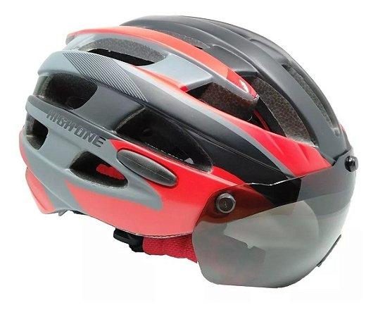 Capacete Ciclismo High One Óculos E Pisca Preto Vermelho
