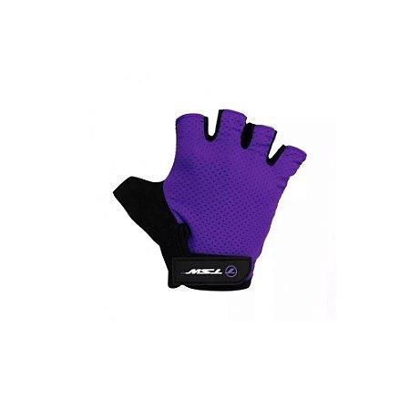 Luva Ciclismo Tsw Combat Meio Dedo Preto Violeta - Par