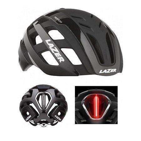 Capacete Lazer Century Led Black Ciclismo Road Speed Preto
