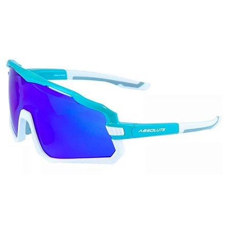 Óculos Ciclismo Absolute Wild Azul Branco Lente Espelhada UV400