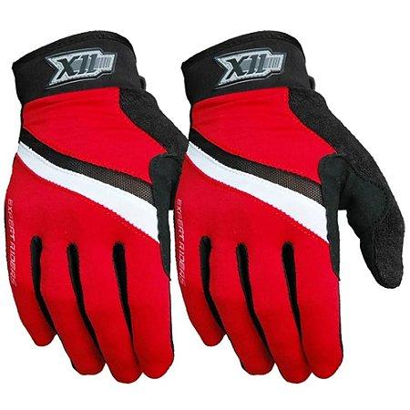 Luva X11 Hunter MTB para Ciclismo Fechada Preto/Vermelho