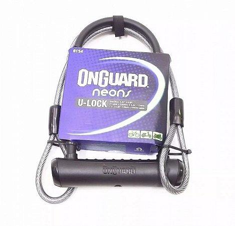 Cadeado Onguard Neon 8154 U-lock Moto Bike Chave Cabo Preto