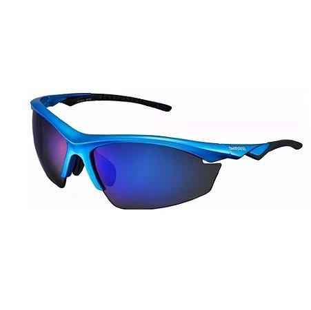 Oculos Shimano Eqx2-pl Azul 3 Lentes Polarizado Ciclismo
