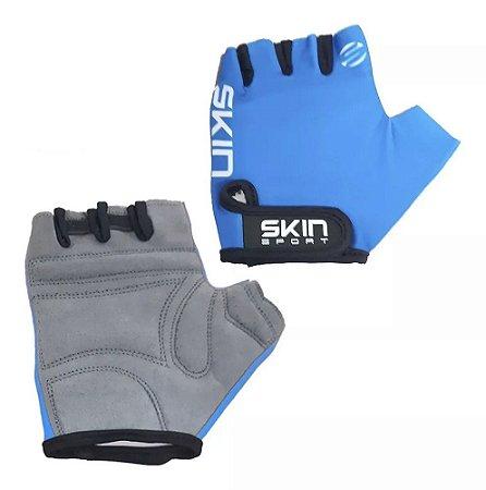 Luva Aberta Skin Sport Fun Azul Meio Dedo Ciclismo Mtb Speed Tam P