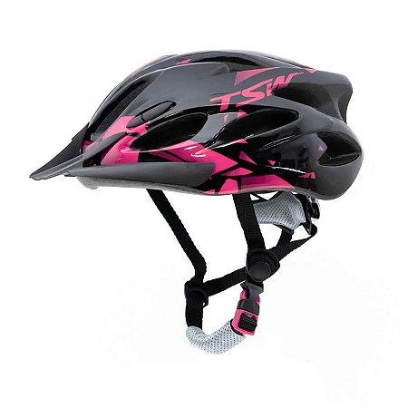 Capacete Tsw Raptor 2 Com LED Cinza Preto Rosa Ciclismo Mtb Xc