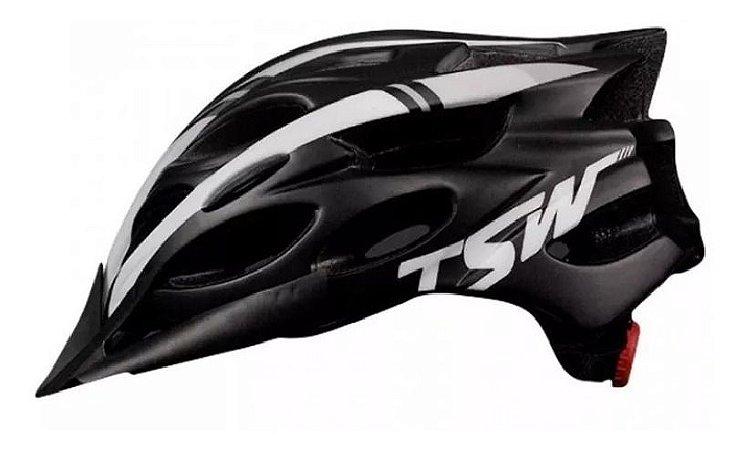 Capacete Ciclismo Tsw Tune Bike Preto Branco C/ Viseira - Un