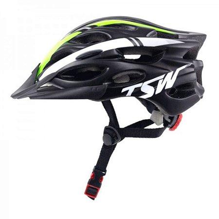 Capacete TSW Tune Preto Verde Branco Com Viseira Bike Ciclismo Regulagem