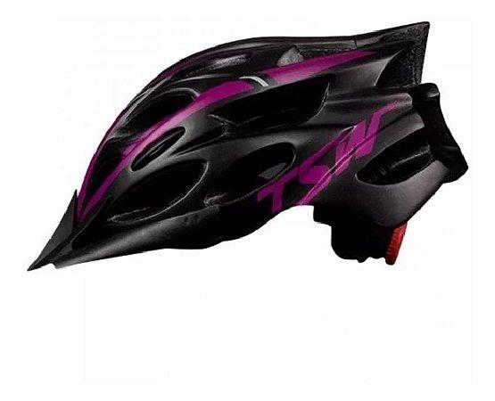 Capacete Ciclismo Tsw Tune Bike  Preto Pink C Viseira - Un