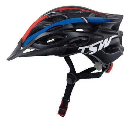 Capacete Tsw Tune Preto Azul Vermelho Com Viseira Bike Ciclismo